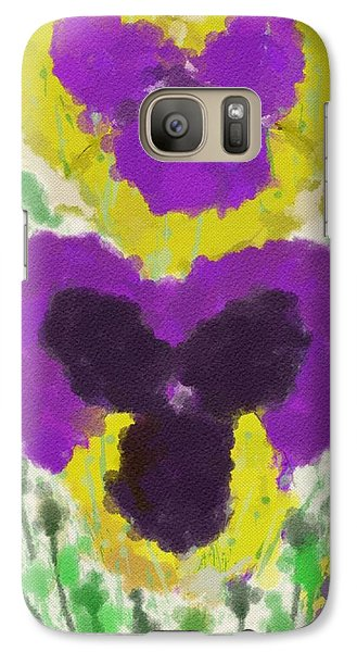 Galaxy Case featuring the digital art Pansies by Mary M Collins