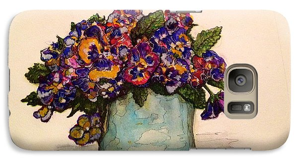 Galaxy Case featuring the painting Pansies by Rae Chichilnitsky