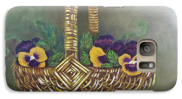 Galaxy Case featuring the painting Pansy Basket Sherry Nelson Study by Sharon Schultz