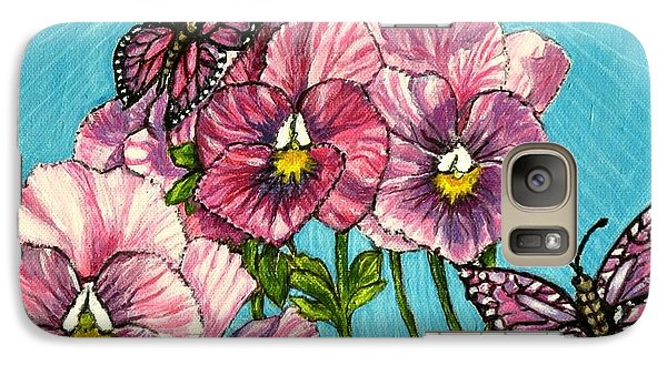 Galaxy Case featuring the painting Pansy Pinwheels And The Magical Butterflies by Kimberlee Baxter