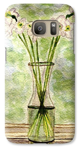 Galaxy Case featuring the painting Paper Whites In Sunlight by Angela Davies