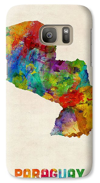 Paraguay Watercolor Map Galaxy Case by Michael Tompsett