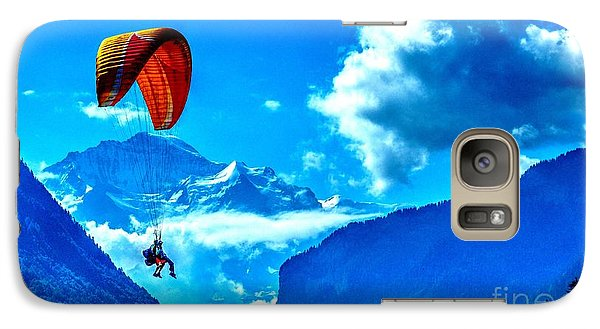 Galaxy Case featuring the photograph Parasailing Swiss Alps by Joe  Ng