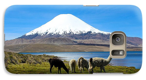 Parinacota Volcano Lake Chungara Chile Galaxy S7 Case by Kurt Van Wagner