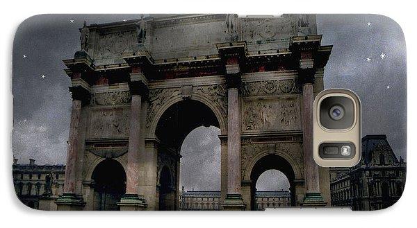 Paris Arc Du Carousel - Louvre Museum Arc De Triomphe - Starry Night Blue Paris Louvre Courtyard Galaxy S7 Case by Kathy Fornal