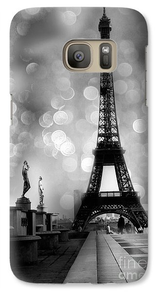 Paris Eiffel Tower Surreal Black And White Photography - Eiffel Tower Bokeh Surreal Fantasy Night  Galaxy S7 Case