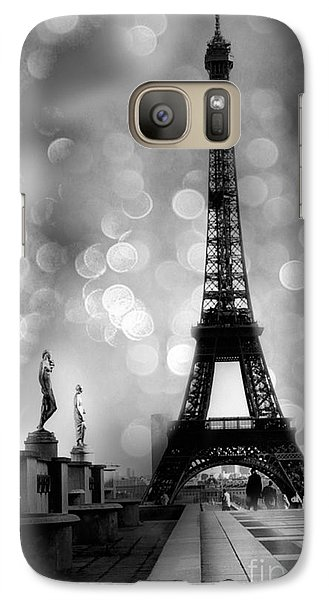 Paris Eiffel Tower Surreal Black And White Photography - Eiffel Tower Bokeh Surreal Fantasy Night  Galaxy S7 Case by Kathy Fornal