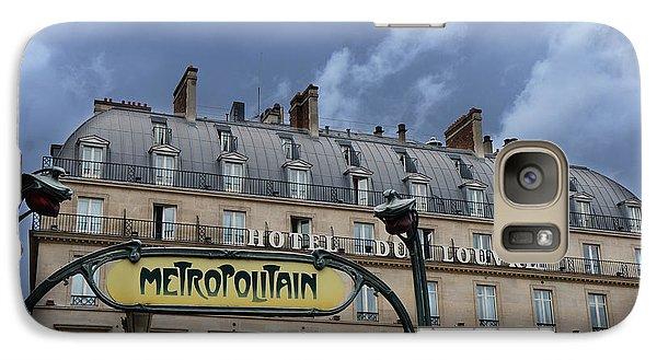 Paris Metropolitain Sign At The Paris Hotel Du Louvre Metropolitain Sign Art Noueveau Art Deco Galaxy S7 Case by Kathy Fornal