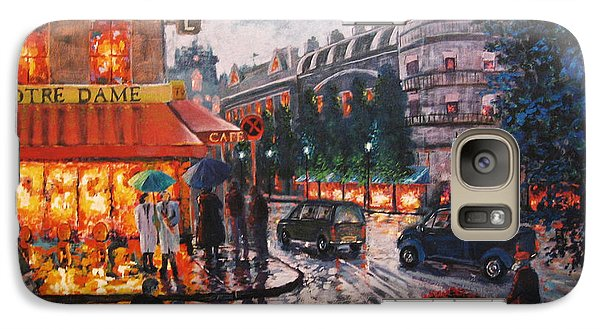 Galaxy Case featuring the painting Paris In The Rain by Cheryl Del Toro