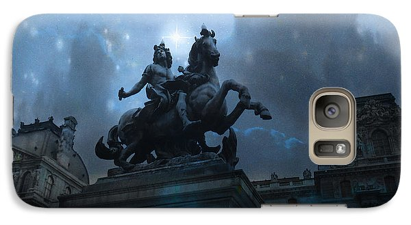 Paris Louvre Museum Blue Starry Night - King Louis Xiv Monument At Louvre Museum Galaxy S7 Case by Kathy Fornal
