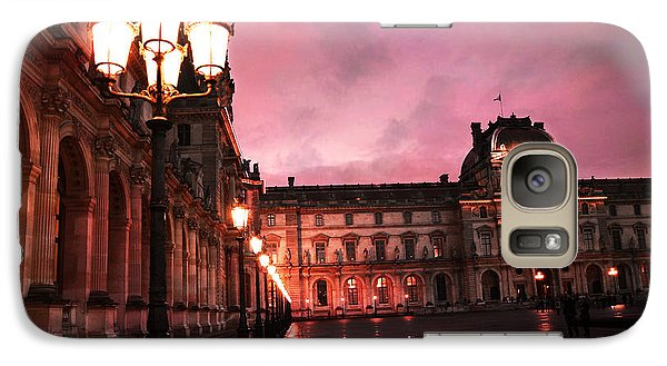 Paris Louvre Museum Night Architecture Street Lamps - Paris Louvre Museum Lanterns Night Lights Galaxy S7 Case by Kathy Fornal