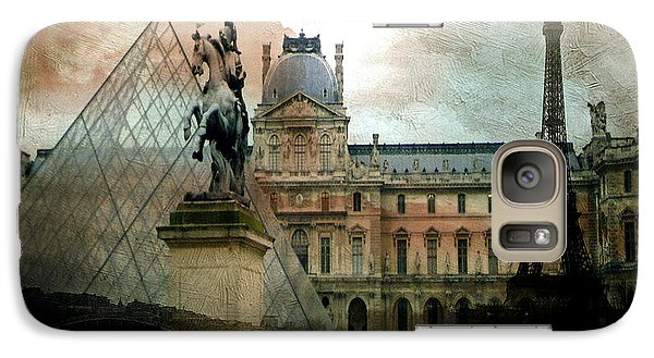Paris Louvre Museum Pyramid Architecture - Eiffel Tower Photo Montage Of Paris Landmarks Galaxy S7 Case