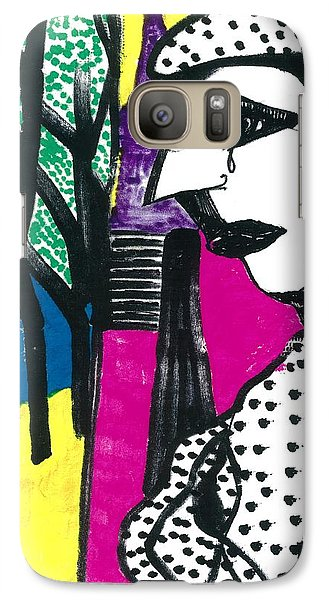 Galaxy Case featuring the drawing Paris Mime by Don Koester