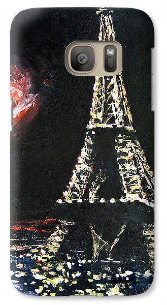 Galaxy Case featuring the painting Paris Night by Cheryl Del Toro