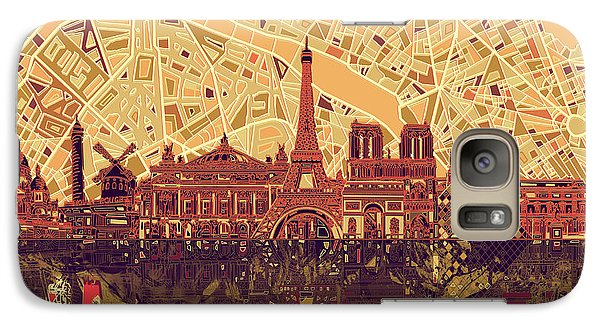 Paris Skyline Abstract Sepia Galaxy S7 Case