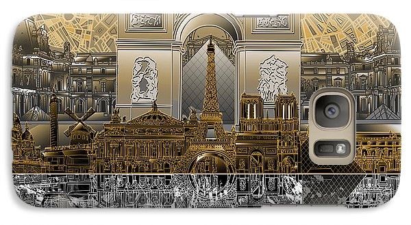Louvre Galaxy S7 Case - Paris Skyline Landmarks 5 by Bekim Art