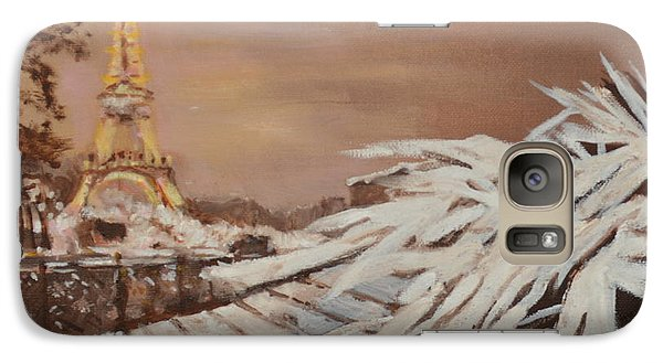 Galaxy Case featuring the painting Paris Sous La Neige by Julie Todd-Cundiff