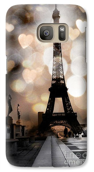 Paris Surreal Fantasy Sepia Black Eiffel Tower Bokeh Hearts And Circles - Paris Eiffel Tower Hearts  Galaxy S7 Case