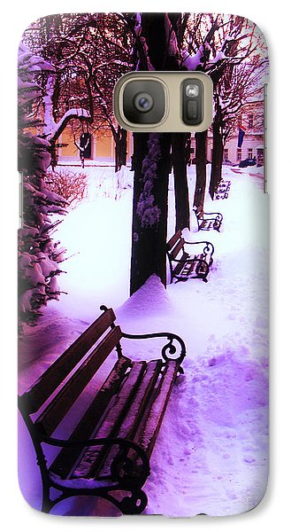 Galaxy Case featuring the photograph Park Benches In Snow by Nina Ficur Feenan