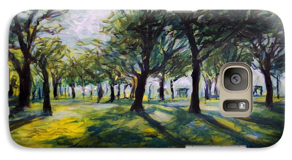 Galaxy Case featuring the painting Park Trees by Ron Richard Baviello