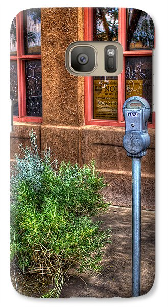 Galaxy Case featuring the photograph Parking Meter On Sidewalk by Dave Garner