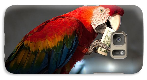 Galaxy Case featuring the photograph Parrot Eating 1 Dollar Bank Note by Gunter Nezhoda