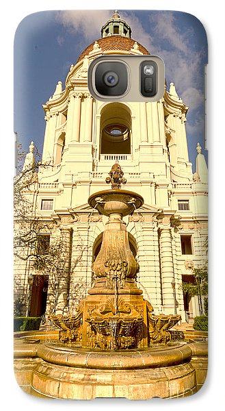 Galaxy Case featuring the photograph Pasadena City Hall's Dome And Courtyard Fountain 01 by MaryJane Armstrong