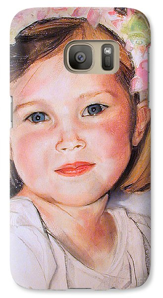 Galaxy Case featuring the painting Pastel Portrait Of Girl With Flowers In Her Hair by Greta Corens