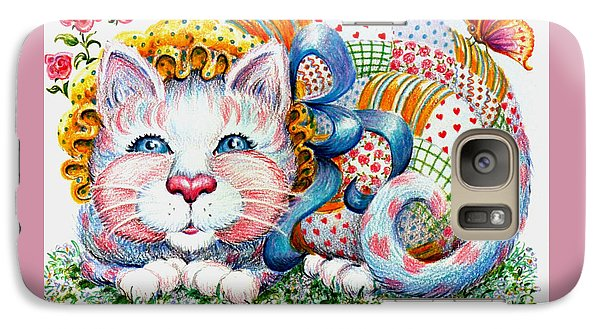 Galaxy Case featuring the drawing Patchwork Patty Catty by Dee Davis