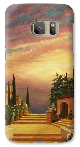 Galaxy Case featuring the digital art Patio Il Tramonto Or Patio At Sunset by Evie Cook