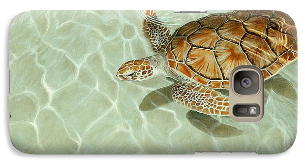 Patterns In Motion - Portrait Of A Sea Turtle Galaxy S7 Case by Rob Dreyer