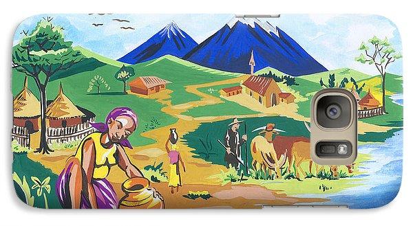 Galaxy Case featuring the painting Paysage Du Nord Du Rwanda by Emmanuel Baliyanga