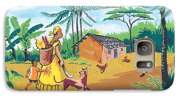 Galaxy Case featuring the painting Paysage Du Sud Du Cameroon by Emmanuel Baliyanga