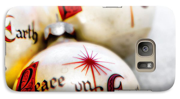 Galaxy Case featuring the photograph Antique Peace On Earth Christmas Decorations by Vizual Studio