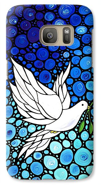 Peaceful Journey - White Dove Peace Art Galaxy Case by Sharon Cummings
