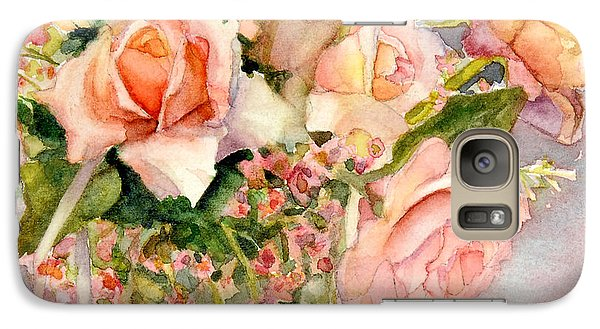 Galaxy Case featuring the painting Peach Roses In Vase by Bonnie Rinier