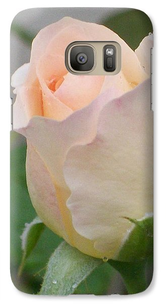 Galaxy Case featuring the photograph Fragile Peach Rose Bud by Belinda Lee