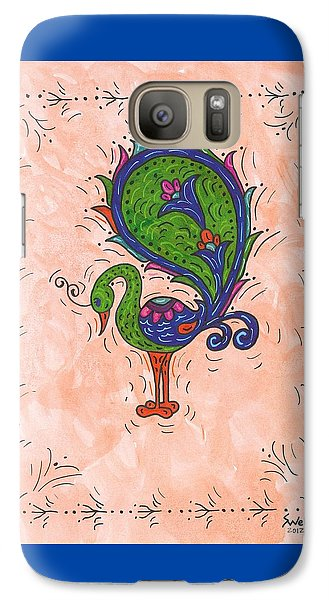 Galaxy Case featuring the painting Peachy Peacock by Susie Weber