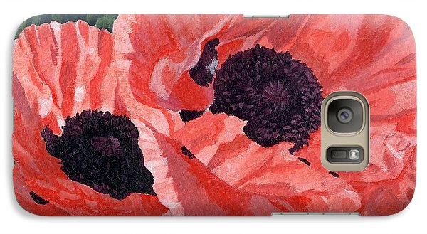Galaxy Case featuring the painting Peachy Poppies by Lynne Reichhart