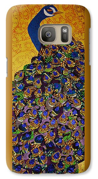 Galaxy Case featuring the tapestry - textile Peacock Blue by Apanaki Temitayo M