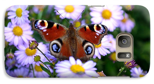 Galaxy Case featuring the photograph Peacock Butterfly Perched On The Daisies by Scott Lyons