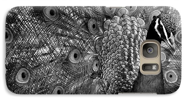 Galaxy Case featuring the photograph Peacock Bw by Ron White
