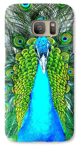 Galaxy Case featuring the photograph Peacock Face On by Heidi Manly