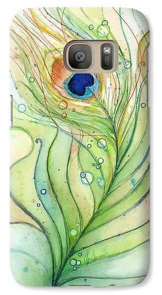 Peacock Feather Watercolor Galaxy S7 Case by Olga Shvartsur
