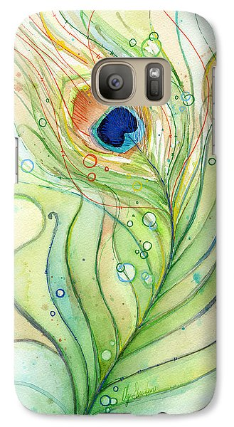 Peacock Feather Watercolor Galaxy Case by Olga Shvartsur