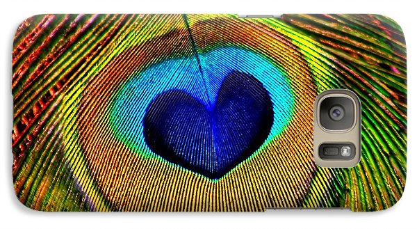 Galaxy Case featuring the photograph Peacock Feathers Eye Of Love by Tracie Kaska