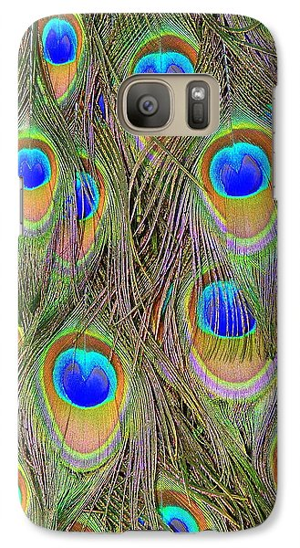 Galaxy Case featuring the photograph Peacock Feathers by Ramona Johnston