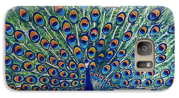Galaxy Case featuring the painting Peacock By Jasna Gopic by Jasna Gopic