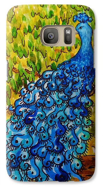 Galaxy Case featuring the painting Peacock by Katherine Young-Beck