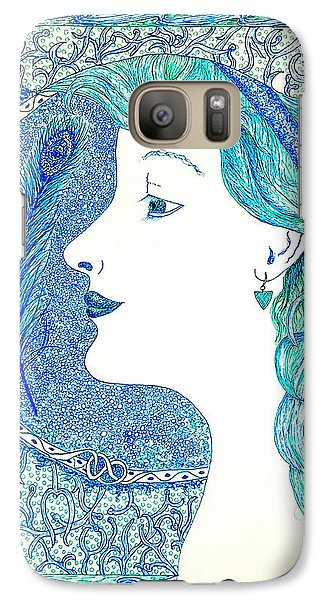 Galaxy Case featuring the painting Peacock Lady by Tamyra Crossley